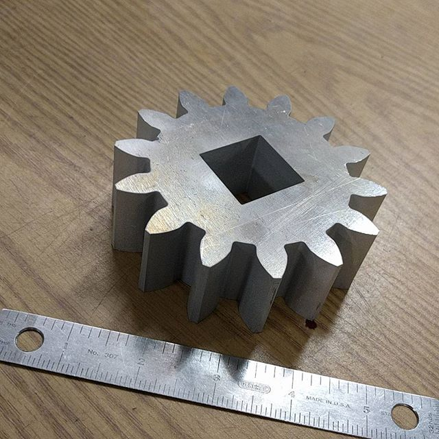 """1.25"""" aluminum 14 tooth gear replacement for a customer with old equipment. #waterjet #waterjetnj #waterjetcut #hazletnj #aluminum #gear #omax"""