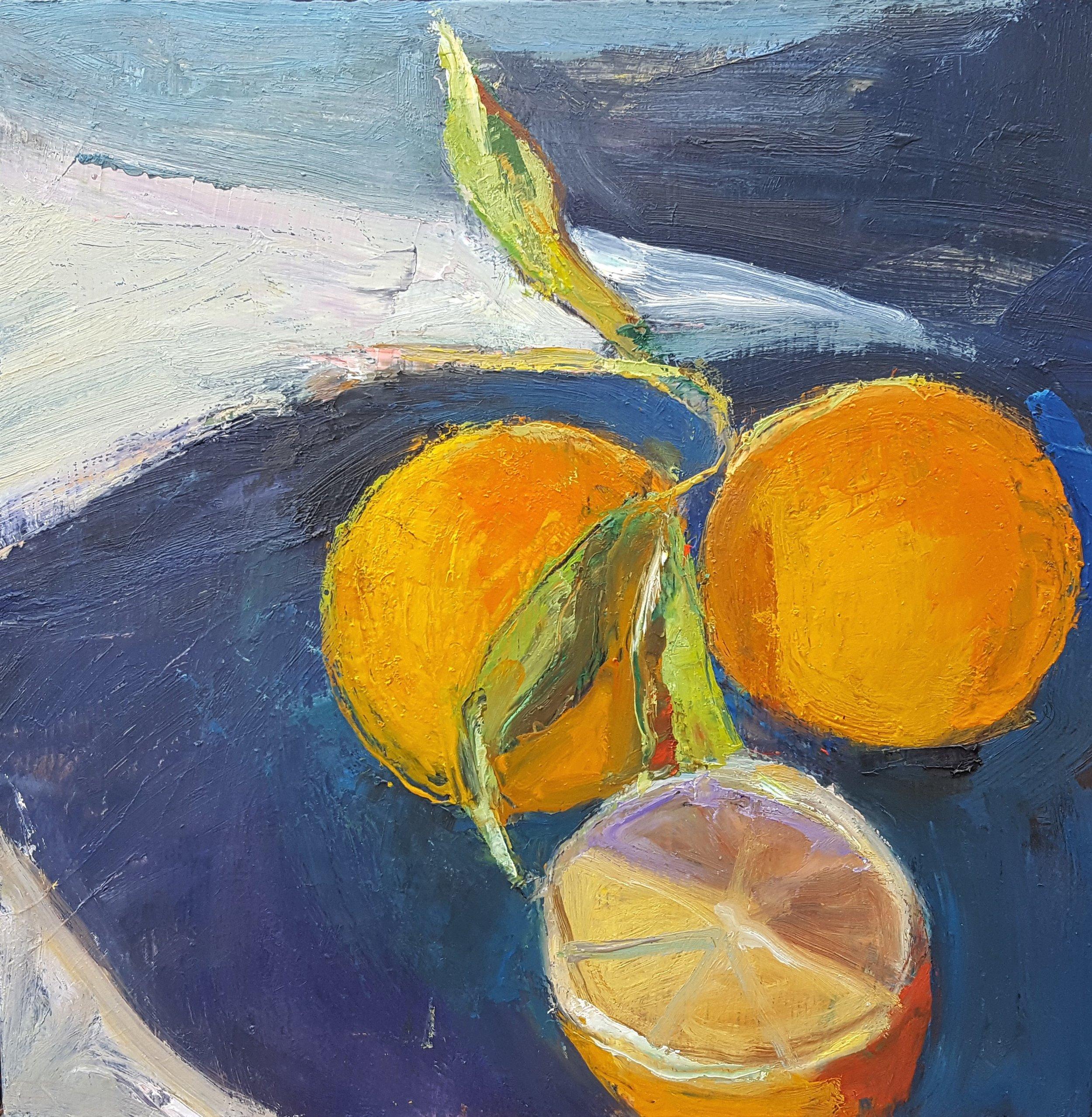 """Oranges   2019  oil on panel  10"""" x 10""""  $300"""