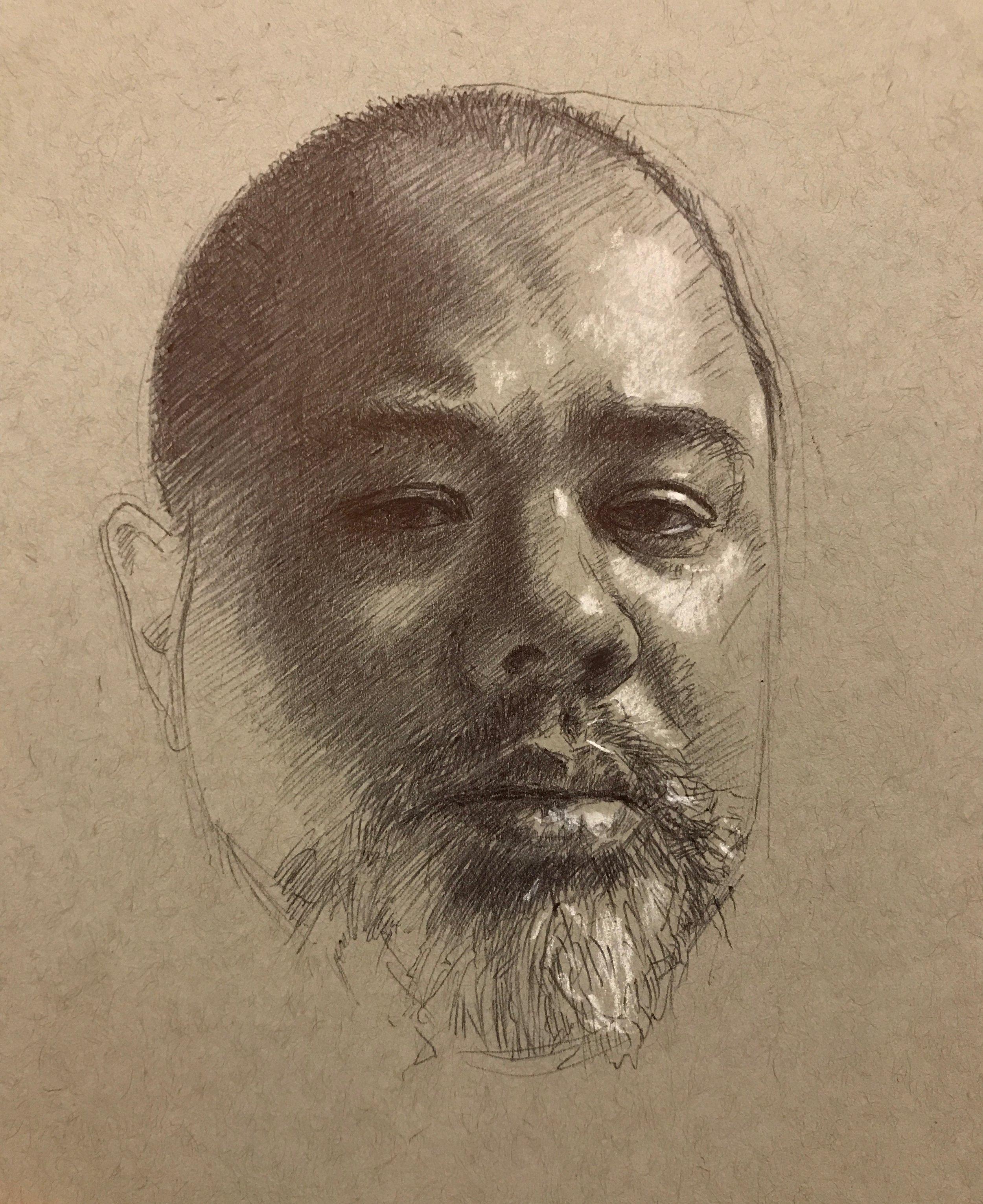 "Self portrait with whit chalk  , ballpoint pen 6""x8"""