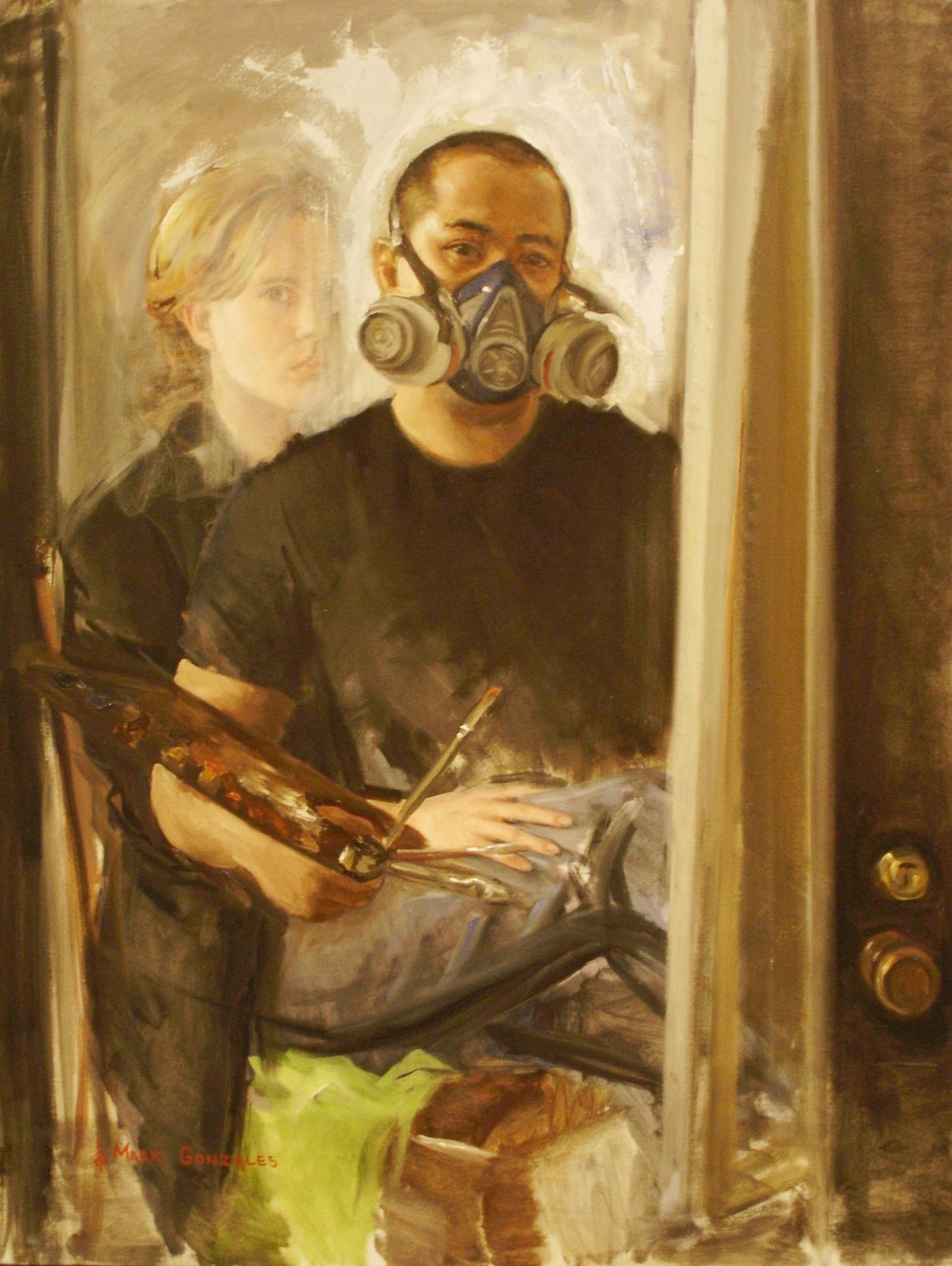 self portrait wit respirator, oil on linen