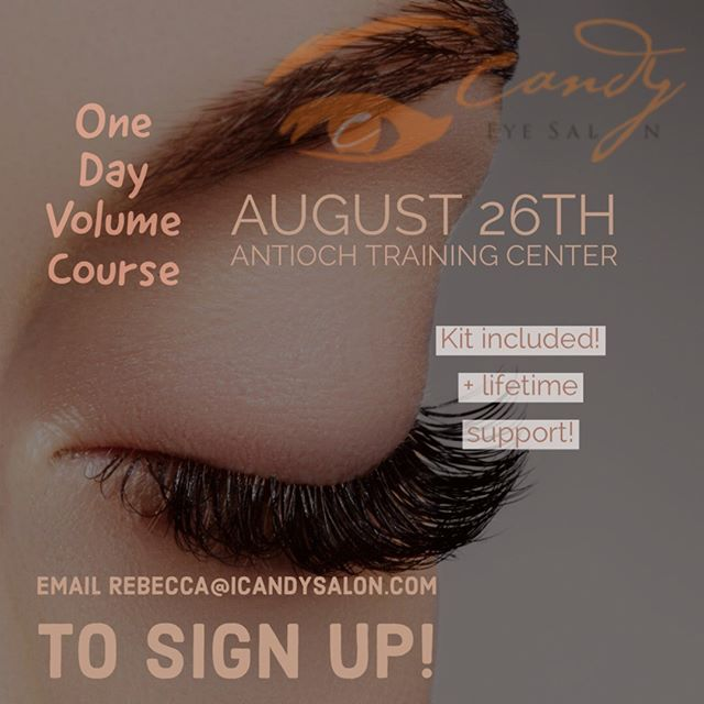 We are offering a one day volume class and never before offering three different techniques! Learn the hottest volume lash techniques in the industry! You don't want to miss out on this great learning opportunity! Get this class at a great discount as well! Join us August 26th at our Antioch training center! Email rebecca@@icandysalon.com to sign up! Career opportunities available also!! #eyelashextensions #volumelashes #lashtraining #bayarealashes #3dlashes #russianvolume #megavolume