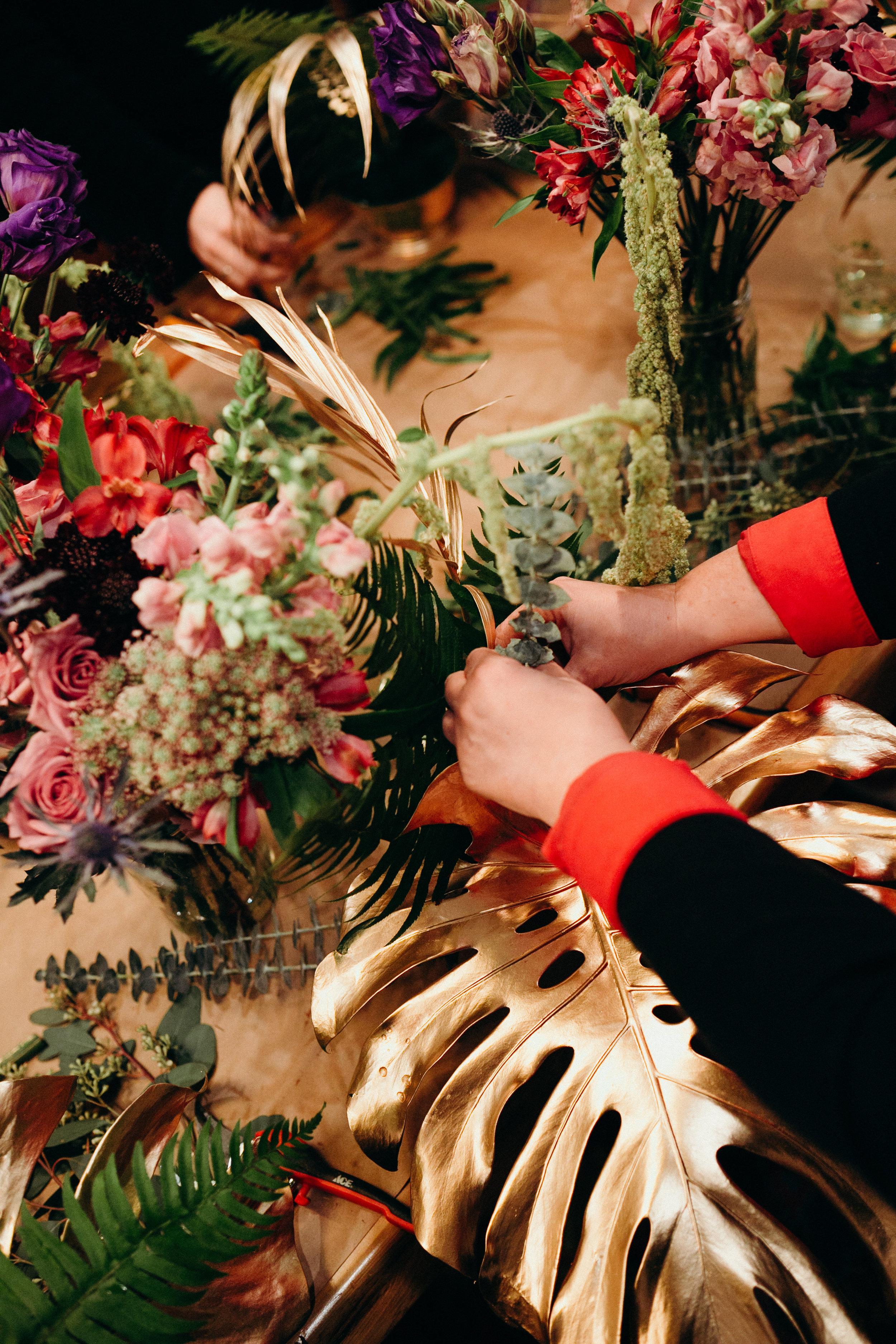 mardi gras floral arrangement