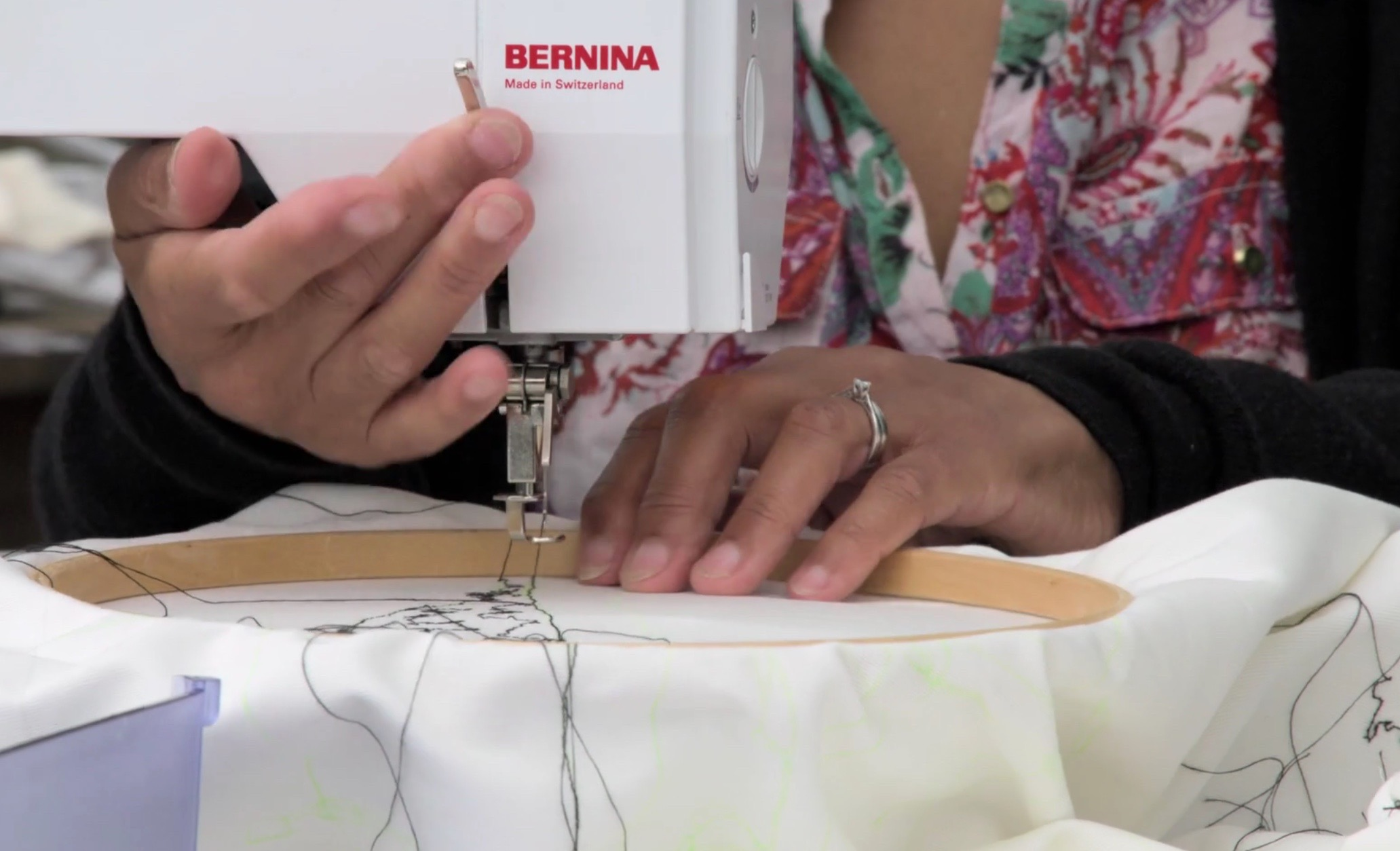 Freehand machine stitching the view
