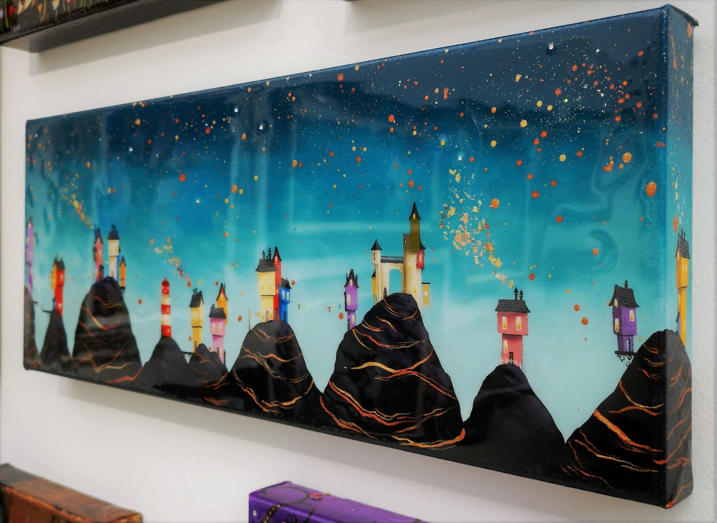 """'Mountain Top Town' - 8""""x20"""" box canvasOil & mixed media£385Available now"""