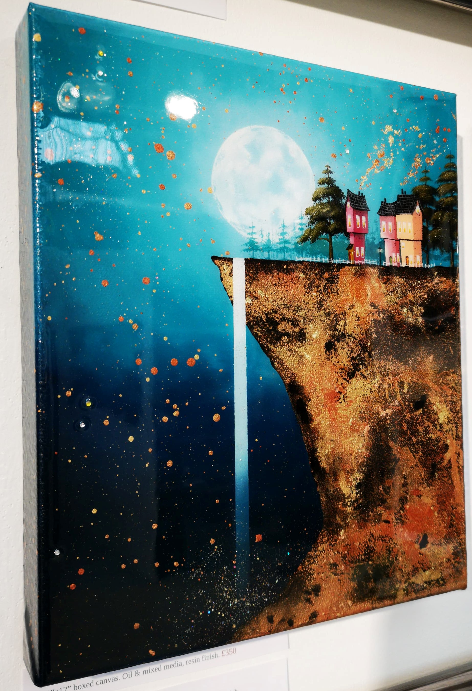 """'Moonlit Falls' - 10""""x12"""" box canvasOil & mixed mediaSold"""