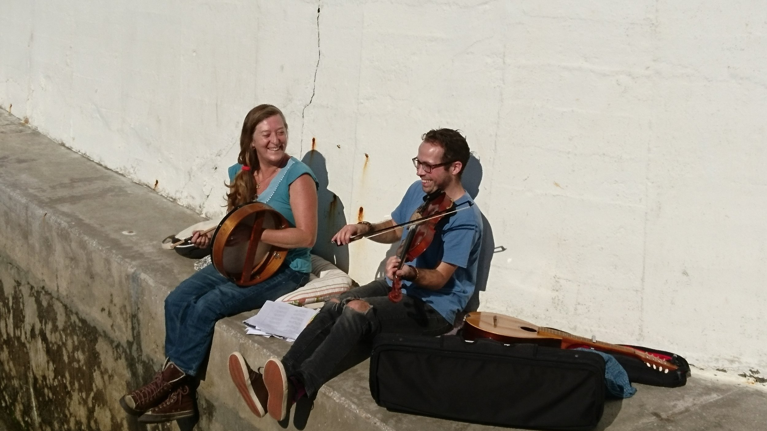 Didjan rehearsing in Penzance