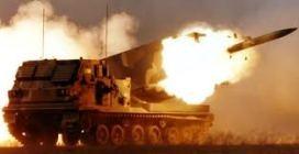 M-270 MLRS in action.