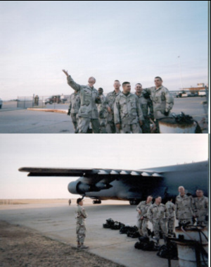 Departing Lawton. I am striking a dramatic pose (top) as we leave gloriously for war.