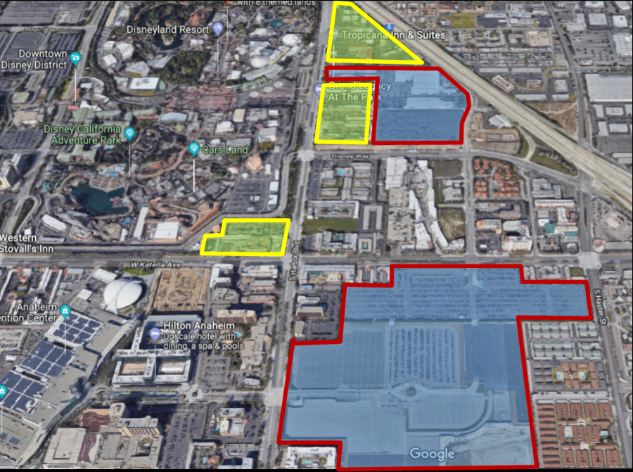 Property highlighted in YELLOW is the land Disney would acquire. Blue is currently owned by Disney.