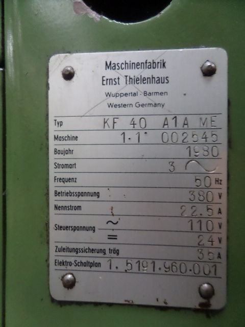 Thielenhaus KF 40 A1A Microfinishing Machine - Label