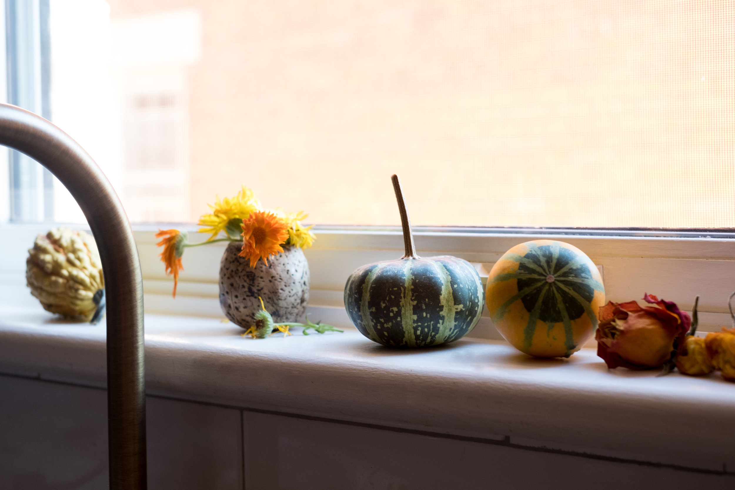 kitchen window sill as altar