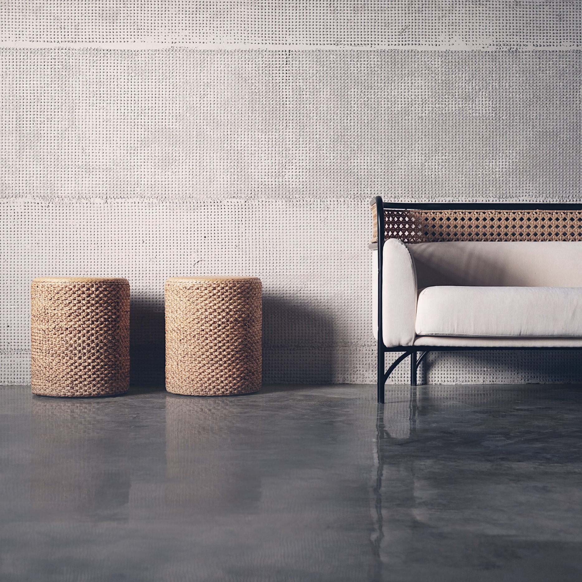Light+%26+Shadow+-+Rattan+and+concrete+wall+finished+in+weaved+rattan+texture+photo+by+The+Other+Place.jpg