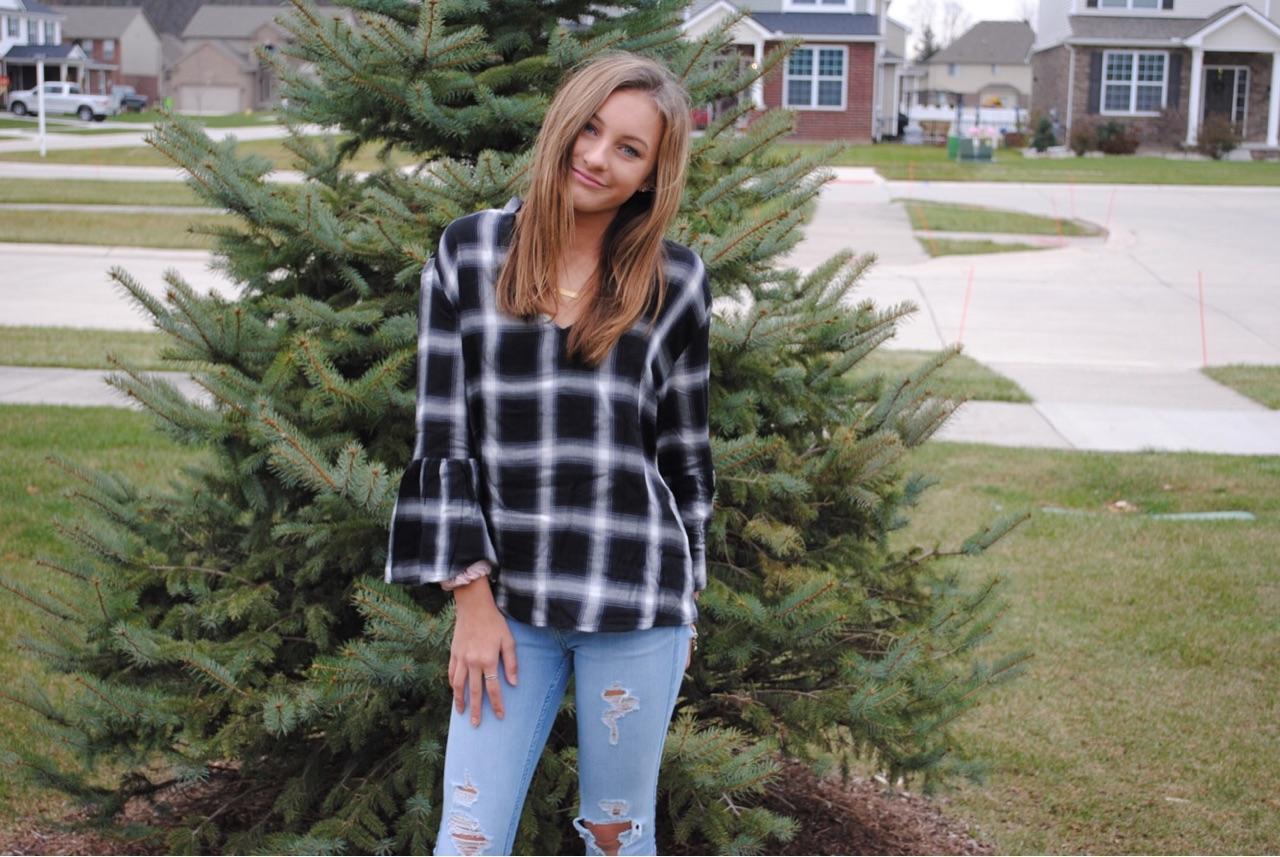 Taylor Larose: Plaid Flared Top: $17