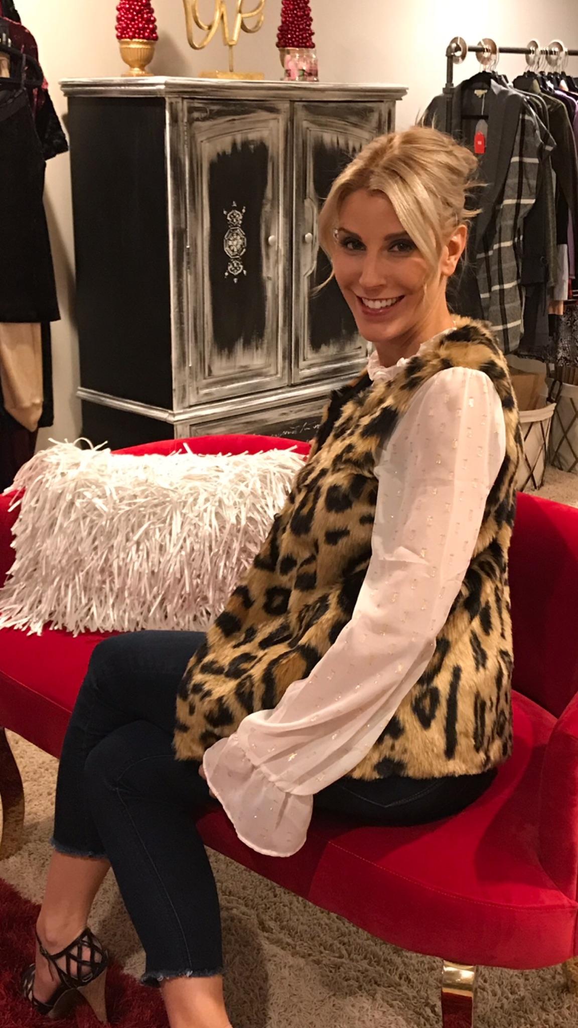 Brooke Ehlen: Faux Fur Cheetah Vest: $