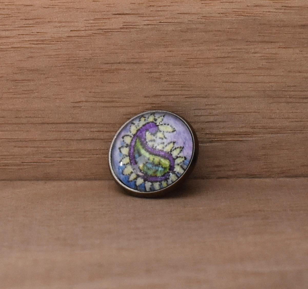Purple Paisley Lapel Pin