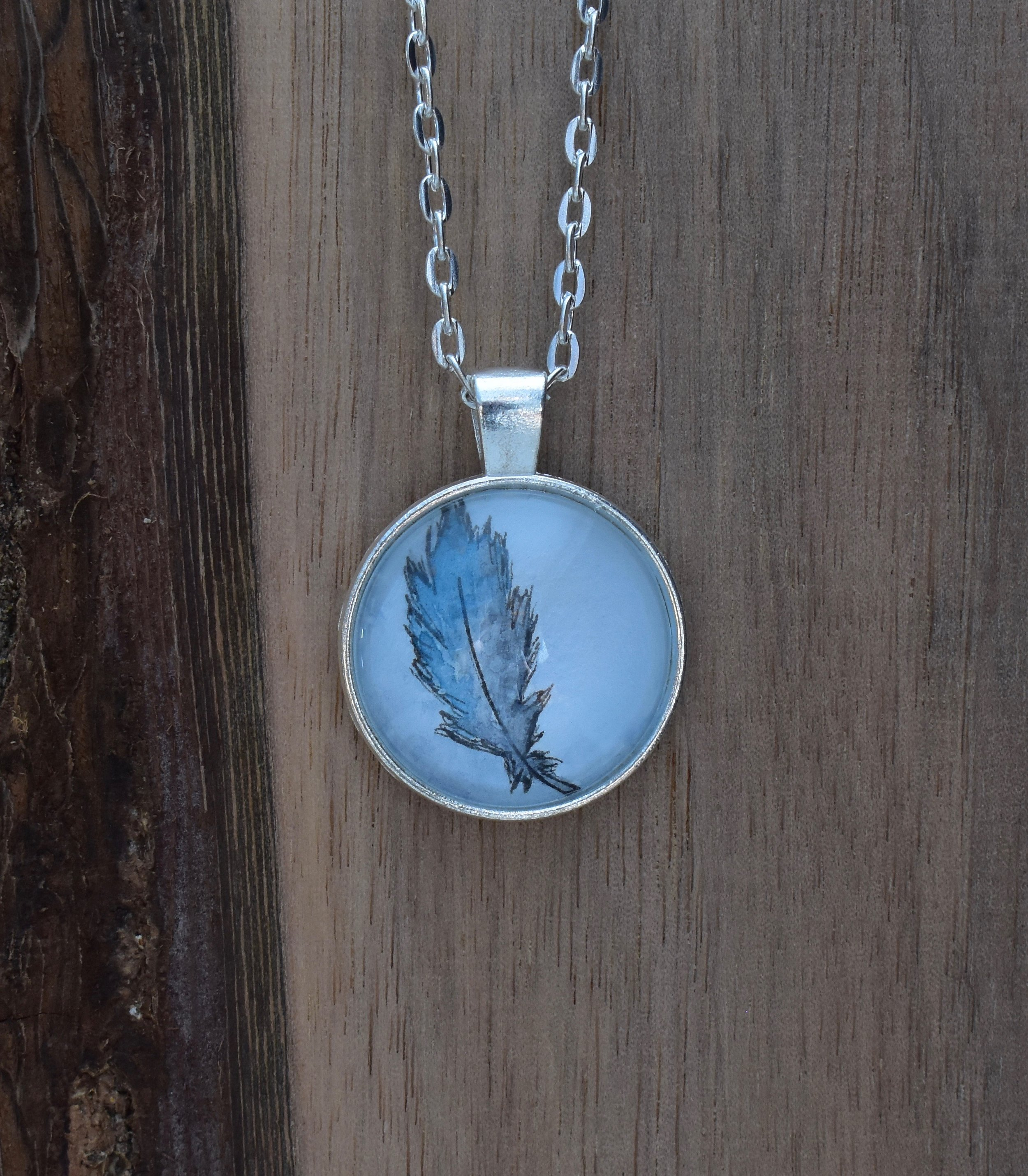Pale Blue Feather Small Pendant
