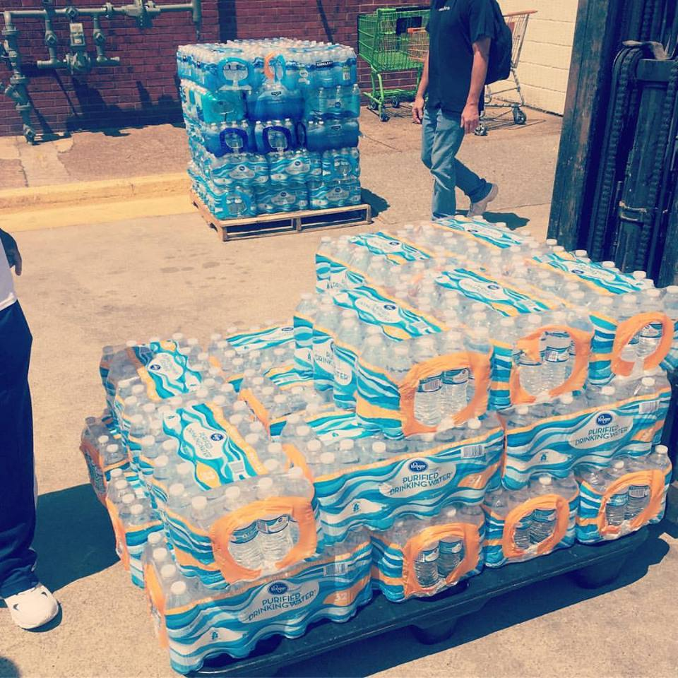 800 bottles of water donated to the Nashville Rescue Mission.