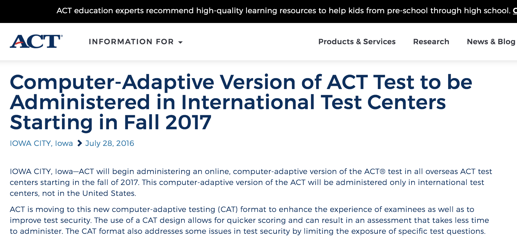 ACT July 2016 Press Release