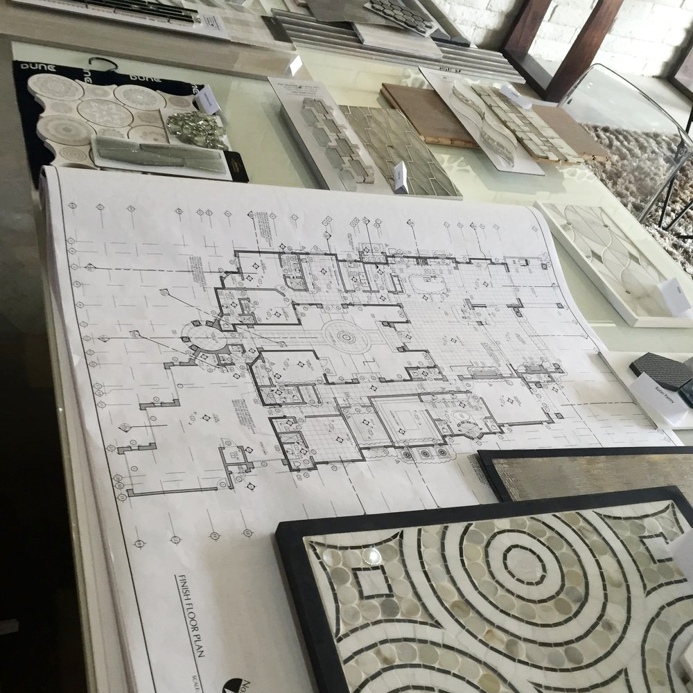 Interior design blueprints and samples.
