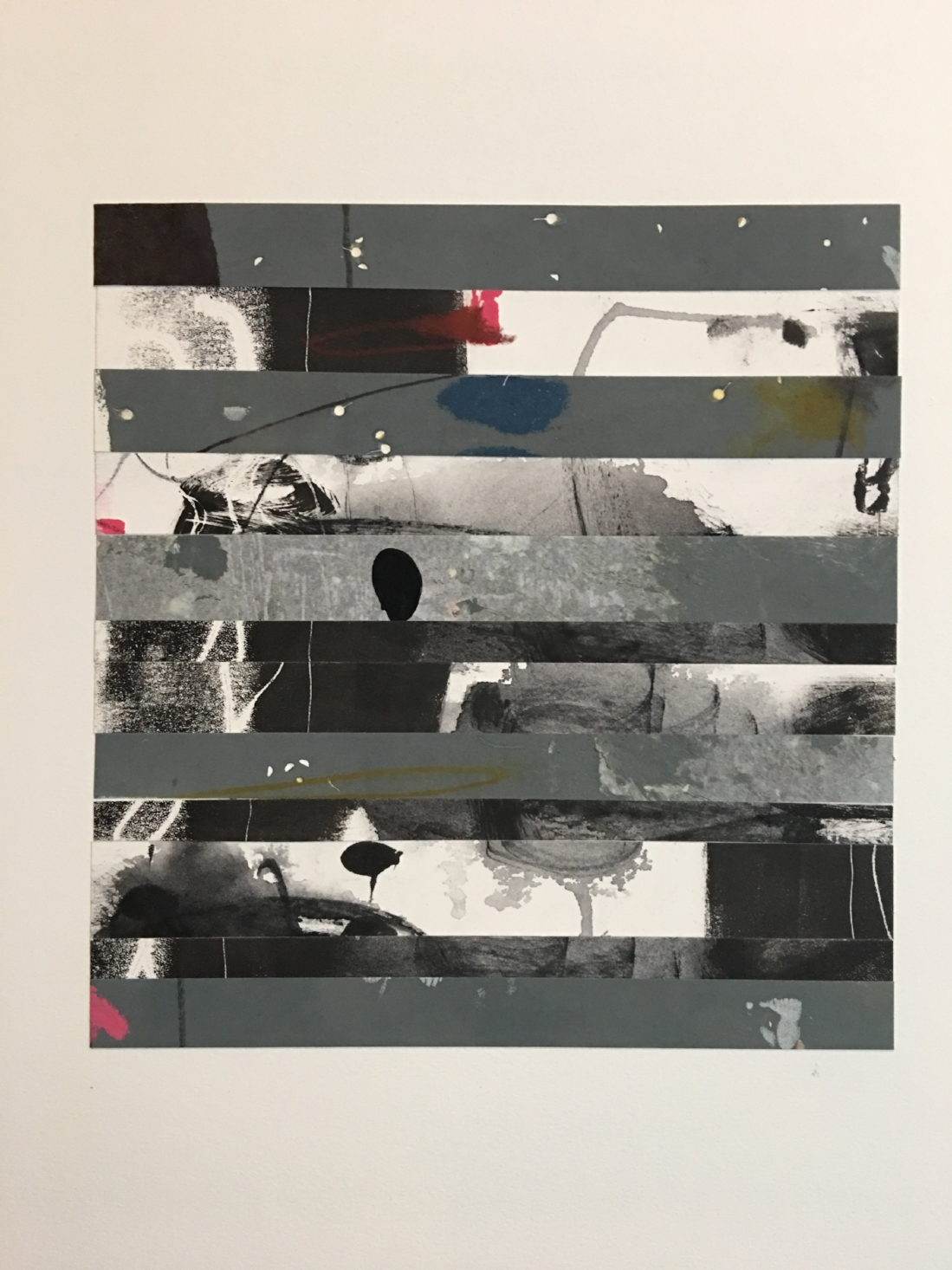 """Burned Forest,  10"""" x 15"""", monotype collage"""