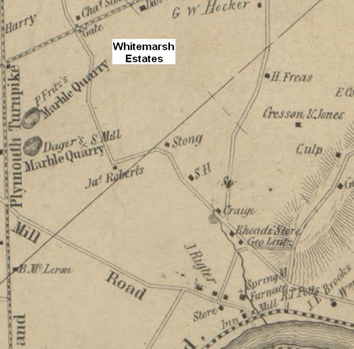 Spring Mill Road with Whitemarsh Estates Noted Map - 1849 - Library of Congress.JPG