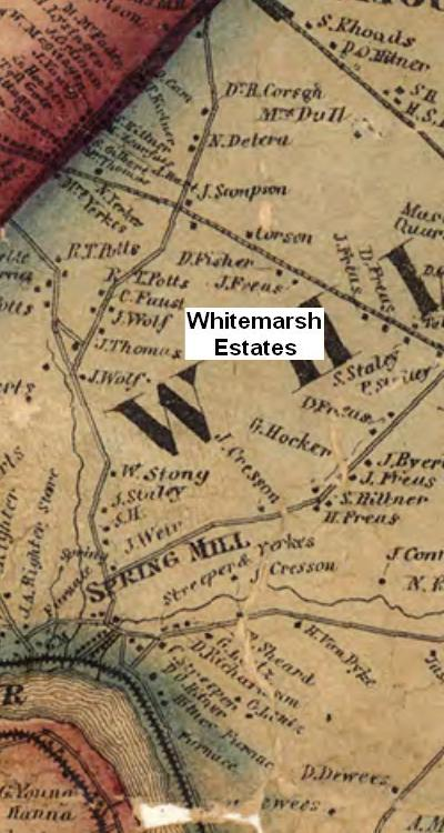 Spring Mill Road with Whitemarsh Estates Noted Map - 1860 - Commonwealth of Pennsylvania Historical and Museum Commission.JPG