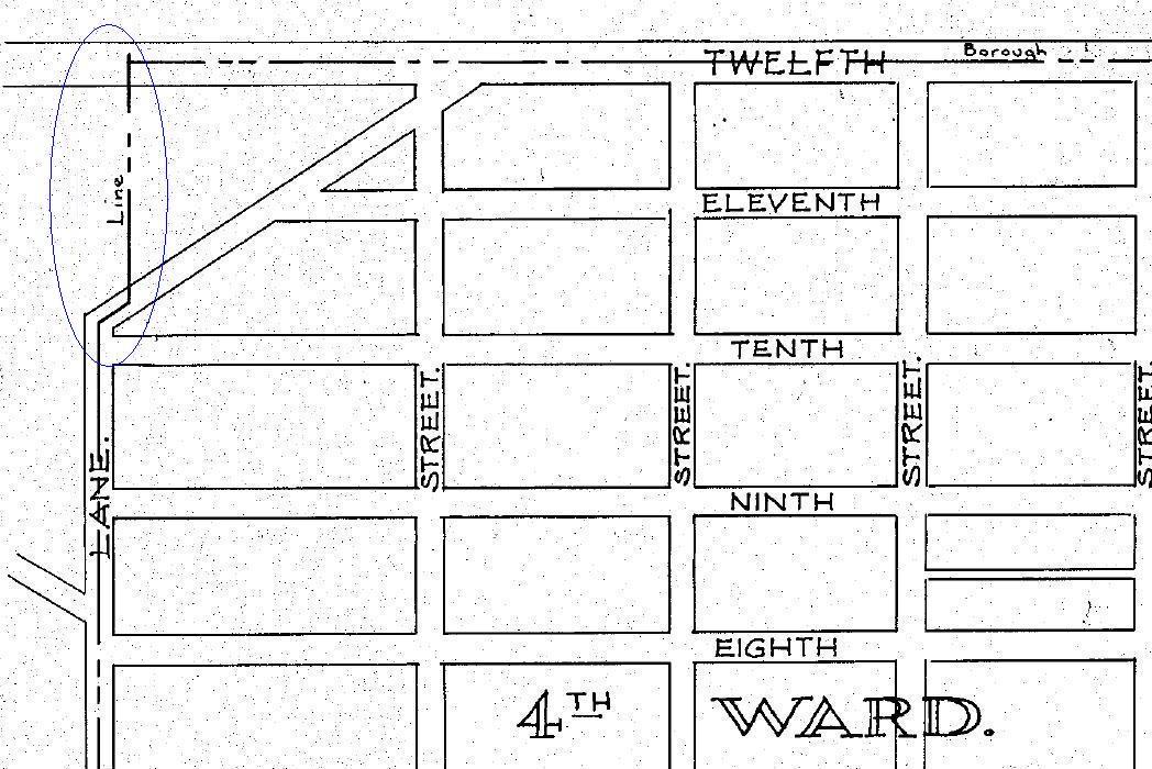Conshohocken Borough Map - PennDOT - 1932 Map - Notch Area - Blue Circle.JPG
