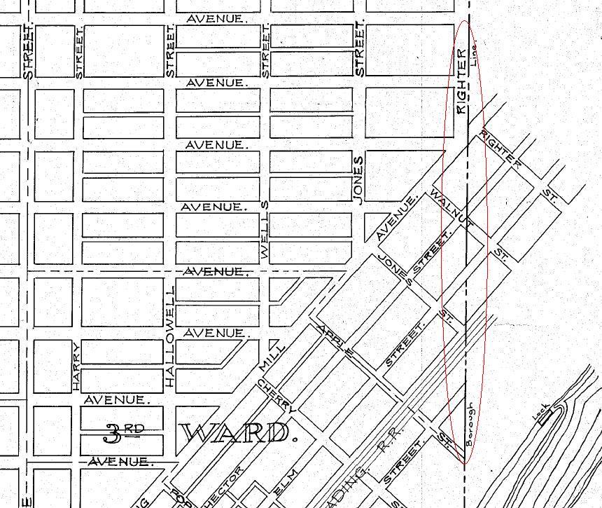 Conshohocken Borough Map - PennDOT - 1932 Map - Righter Street Area - Red Circle.JPG