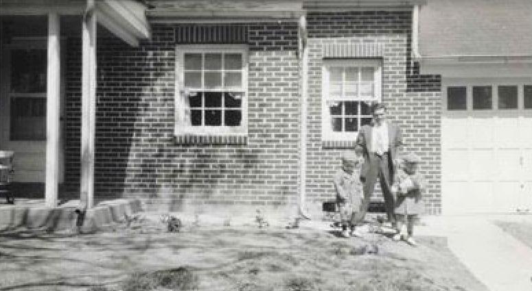 Aubrey Holland - House - Two Boys - brothers Aubrey (Butch) Holland age 4 and Wayne Douglas (Doug) Holland age 3 - 1950.JPG