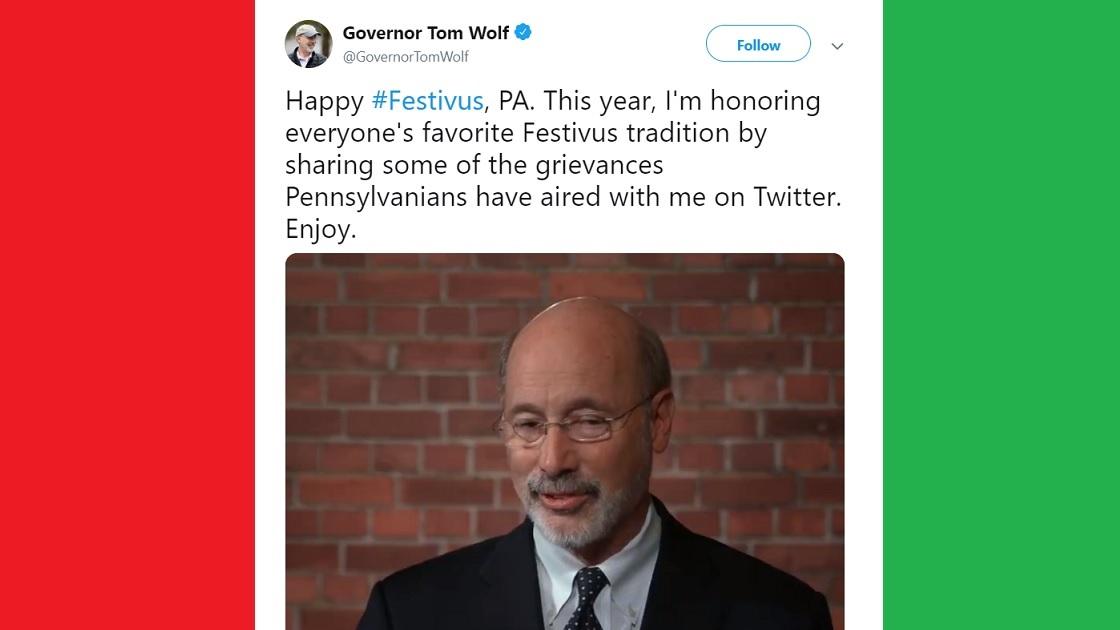 Glenside Local: Governor Tom Wolf  Celebrates Festivus