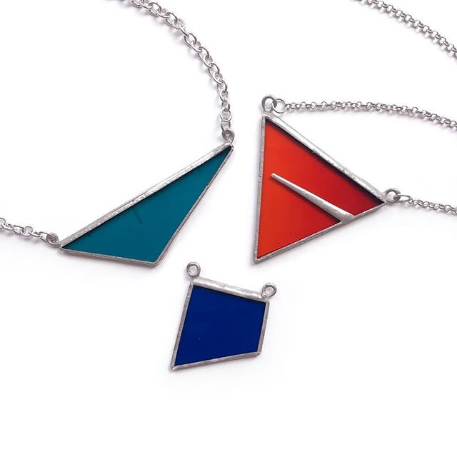 Stained glass pendants, following on the geometric trend that has been influencing most of my art and design work recently! #geometric #glassjewelry #jewelrydesign #glassdesign #jewelry #pendant #necklace