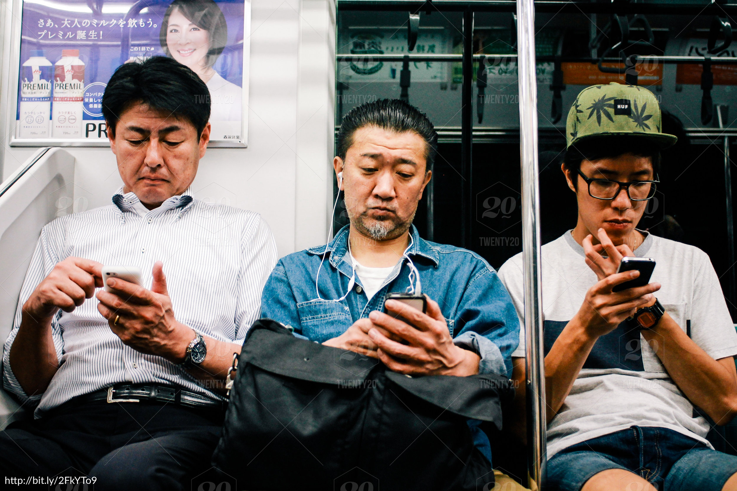 Case and point. An advertiser paid to put their ad in a bus and no one is looking at it. Every single person is on their phone. Probably being served an ad by the competitor for  much   less