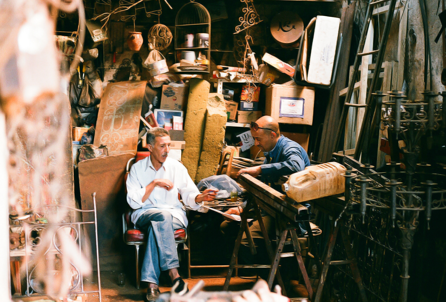 Men at work in the Souk of Marrakech