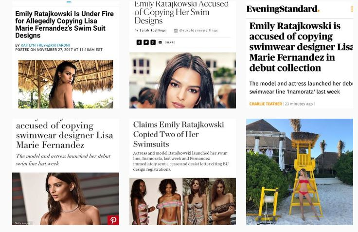 @LisaMarieFernandez Instagram showcasing all the articles against Emily