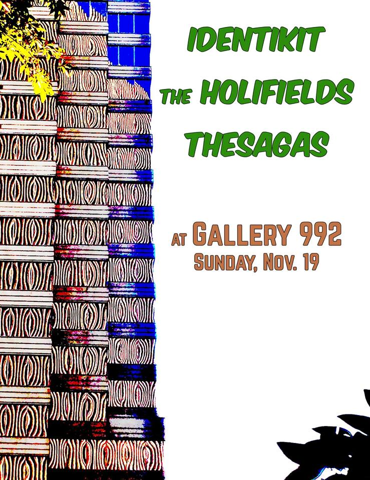 They say Sunday night is the new Saturday night, but Saturday night is the new Thursday afternoon and Tuesday Morning is open all week, so I'm skeptical. Regardless, come hang out and listen to 3 neat bands and stick around for Gallery 992's Sunday jam afterward!   Identikit 7pm - thanksgivingcore prog klezmer  The Holifields (Knoxville) 8pm - not your father's psych rock  The Sagas 9pm - solpunk  Doors at 6:30, music at 7, $5.