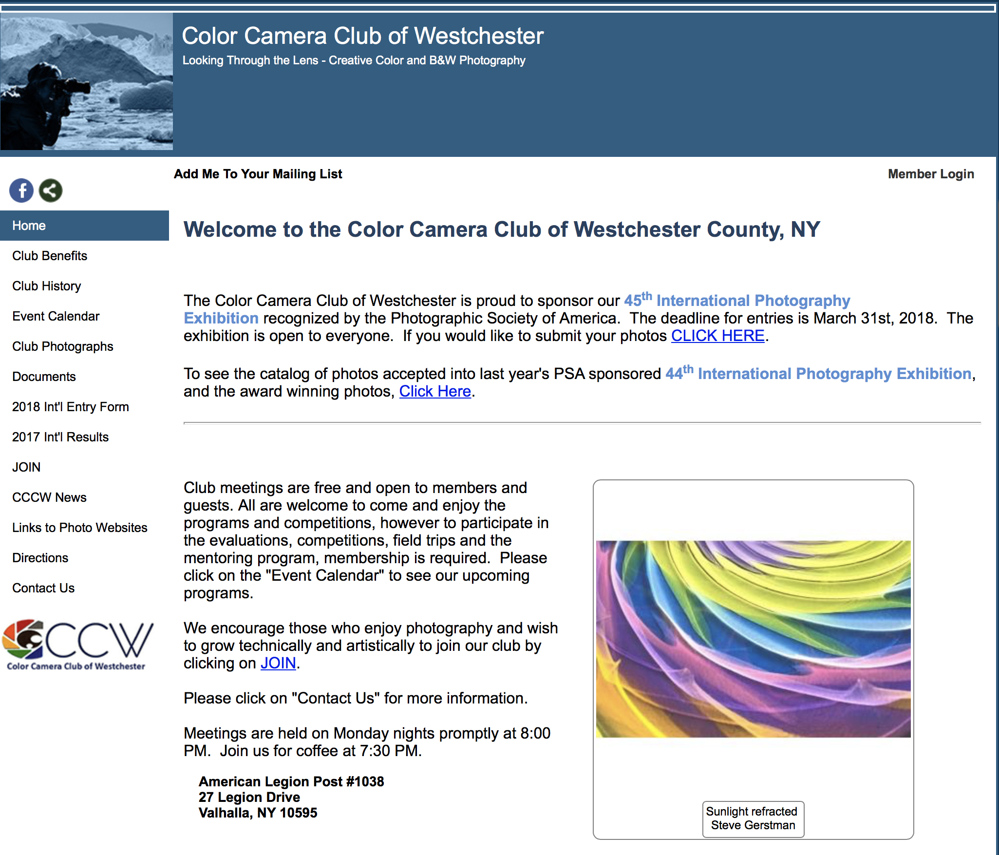 GUEST LECTUREColor Camera Club ofWestchester, NY - MARCH 6, 2017, 8pm Amy speaks about making street photography with CCCW students