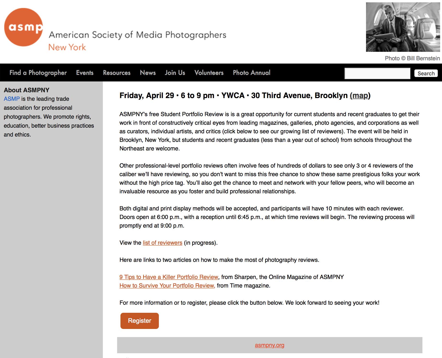 PORTFOLIO REVIEWERASMPNY StudentPortfolio Review NYC - APRIL 29, 2016, 6-9pm Amy reviews student portfolios at ASMP New York's Student Portfolio Review event.