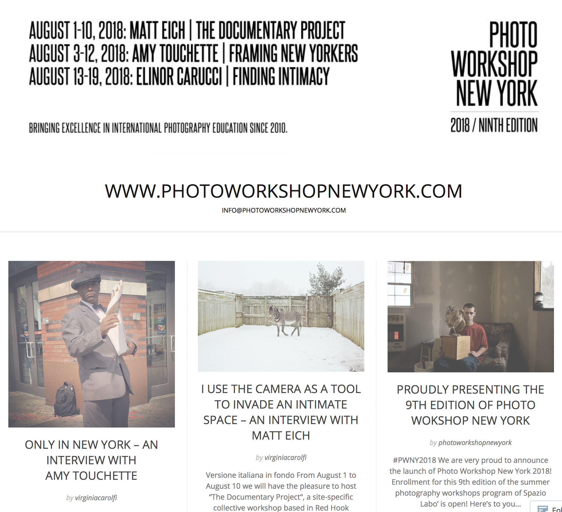 Photo Workshop New York,Interview - FEBRUARY 9, 2018 PHOTO WORKSHOP NEW YORK (PWNY) is an educational project organized each year in New York City, founded in 2010 by Laura De Marco and Roberto Alfano, the directors of the center of photography Spazio Labo' in Bologna, Italy.