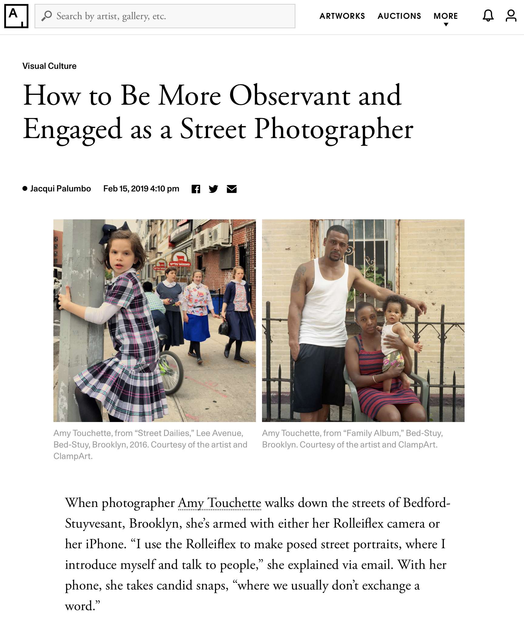 Artsy,Feature - February 15, 2019 Amy gives some tips for photographing on the street in this Artsy feature.
