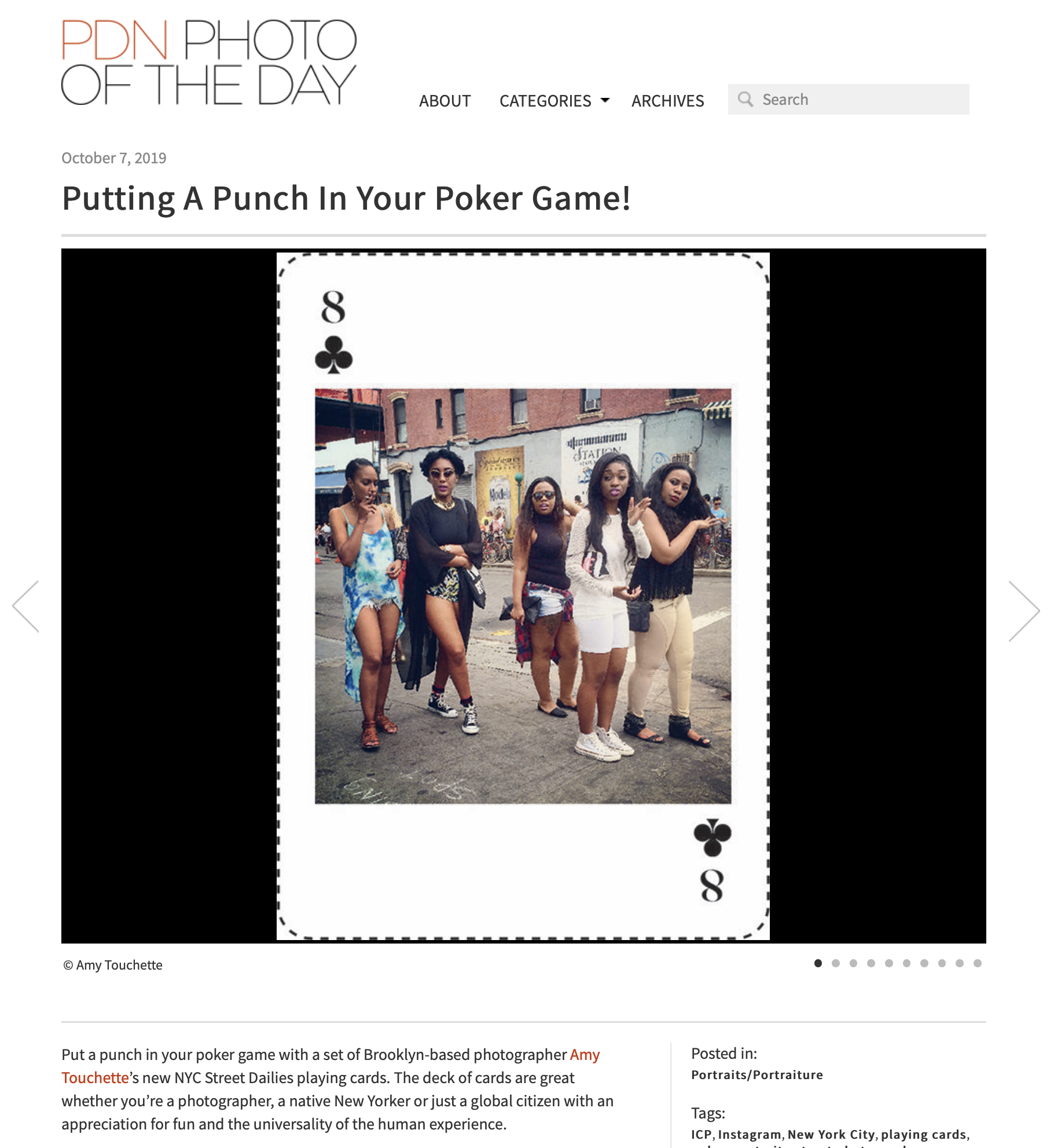 PDN Photo of the Day,NYC Street DailiesPlaying Cards - OCTOBER 7, 2019 NYC Street Dailies playing cards is featured on PDN's Photo of the Day, a platform that displays photographs selected by the editors of Photo District News magazine