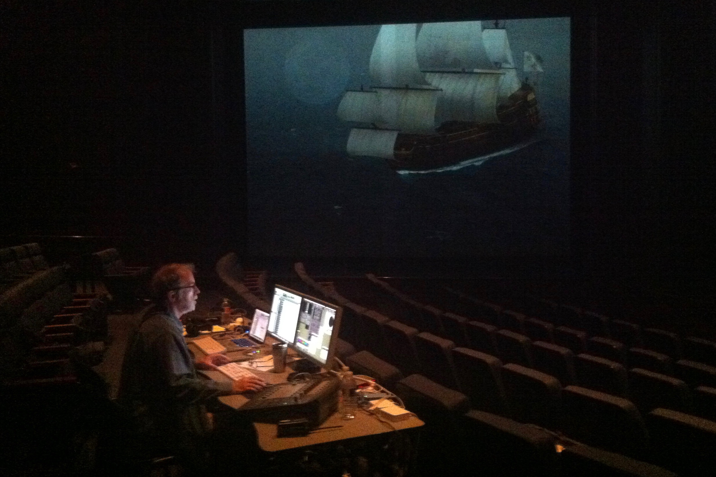 """Wayne working on the mix for """"Shipwrecked"""" in the Spirit Theater of the Texas State History Museum."""