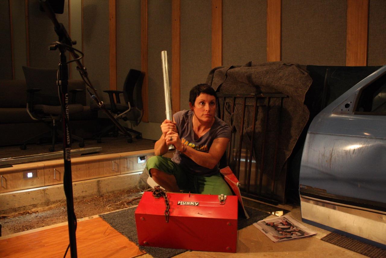 """Susan recording foley for """"Butcher Boys"""". (2011)"""