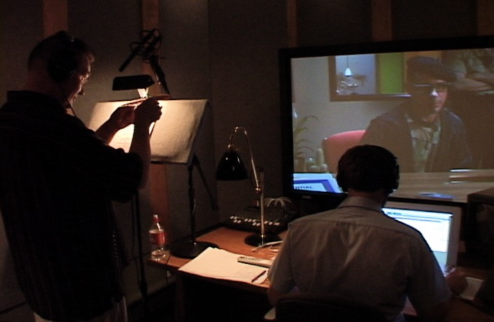"""Recording the """"scramble voices"""" for """"A Scanner Darkly.""""Mark Turner, as the voice of """"Hank,"""" with Justin Hennard recording in Soundcrafter's main room at the time. (2006)"""
