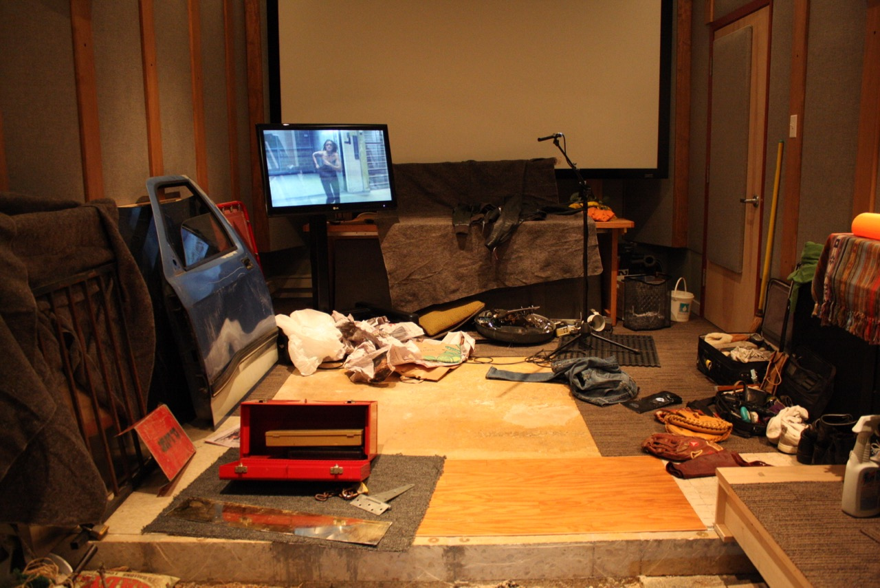 """Recording foley for """"Butcher Boys."""" The main mix room converted to a foley stage.The front section of the raise floor slid underneath the back section to reveal the foley pits. (2011)"""