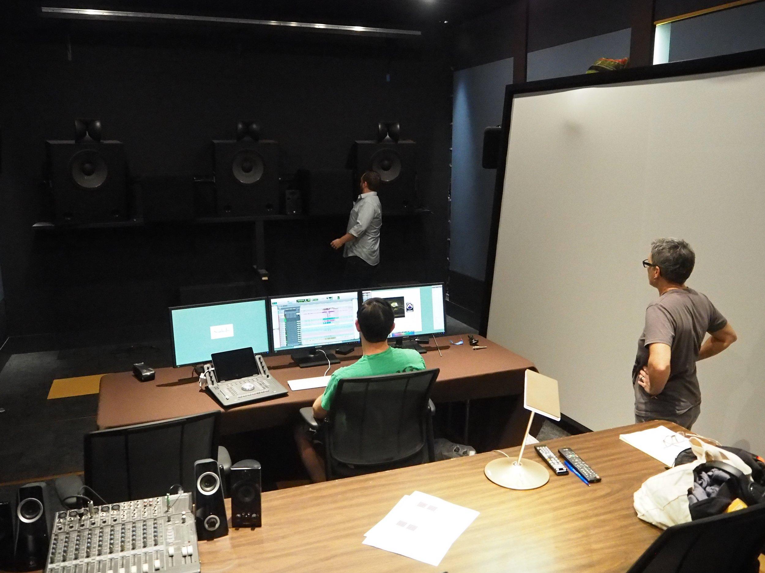 Korey, Glenn,and Susan setting up Studio 1. (Nov. 2017)