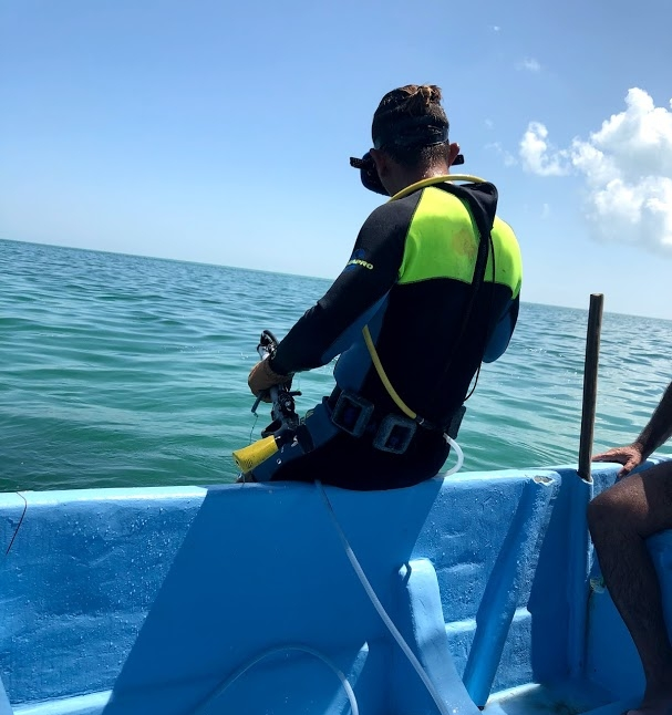 On the boat with spearfishermen