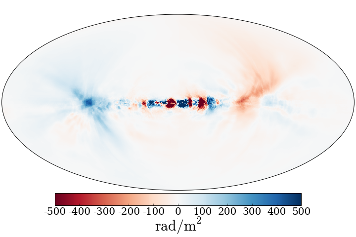Figure 3:  All-sky RM map for the g80LR run at ∼ 2.4Gyr with Tthres = 13,000K and an origin 8 kpc away from the center of the galaxy. The angular power spectrum of this map is shown in Figure 7.