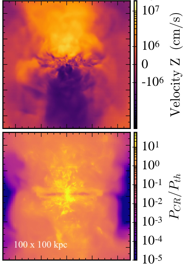 Figure 1: Cosmic ray transport relative to the thermal gas can drive strong galactic winds (top panel). Cosmic ray pressure provides support to the thermal gas (bottom panel), lifting it out of the galactic potential well.