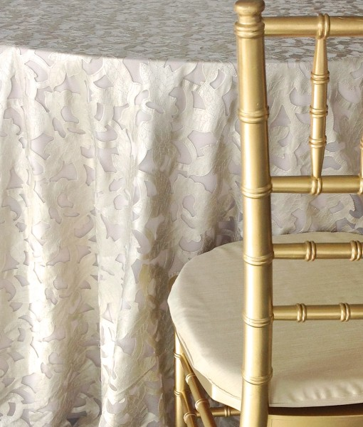 Preston Bailey Luxury Linen Collection - Champagne Iris tablecloth - Image 1.jpg