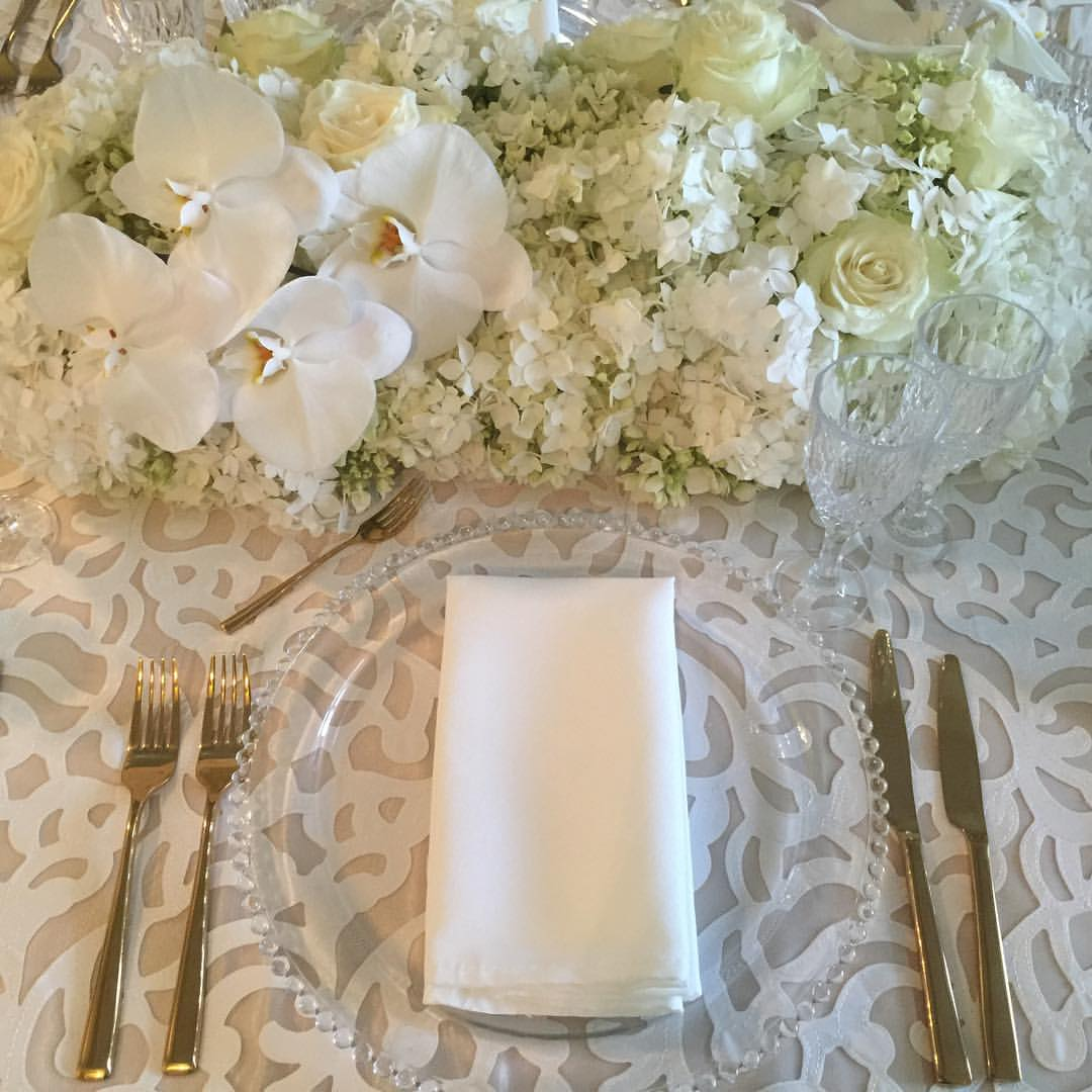 Preston Bailey Luxury Linen Collection - White Iris tablecloth and gold cutlery.jpg